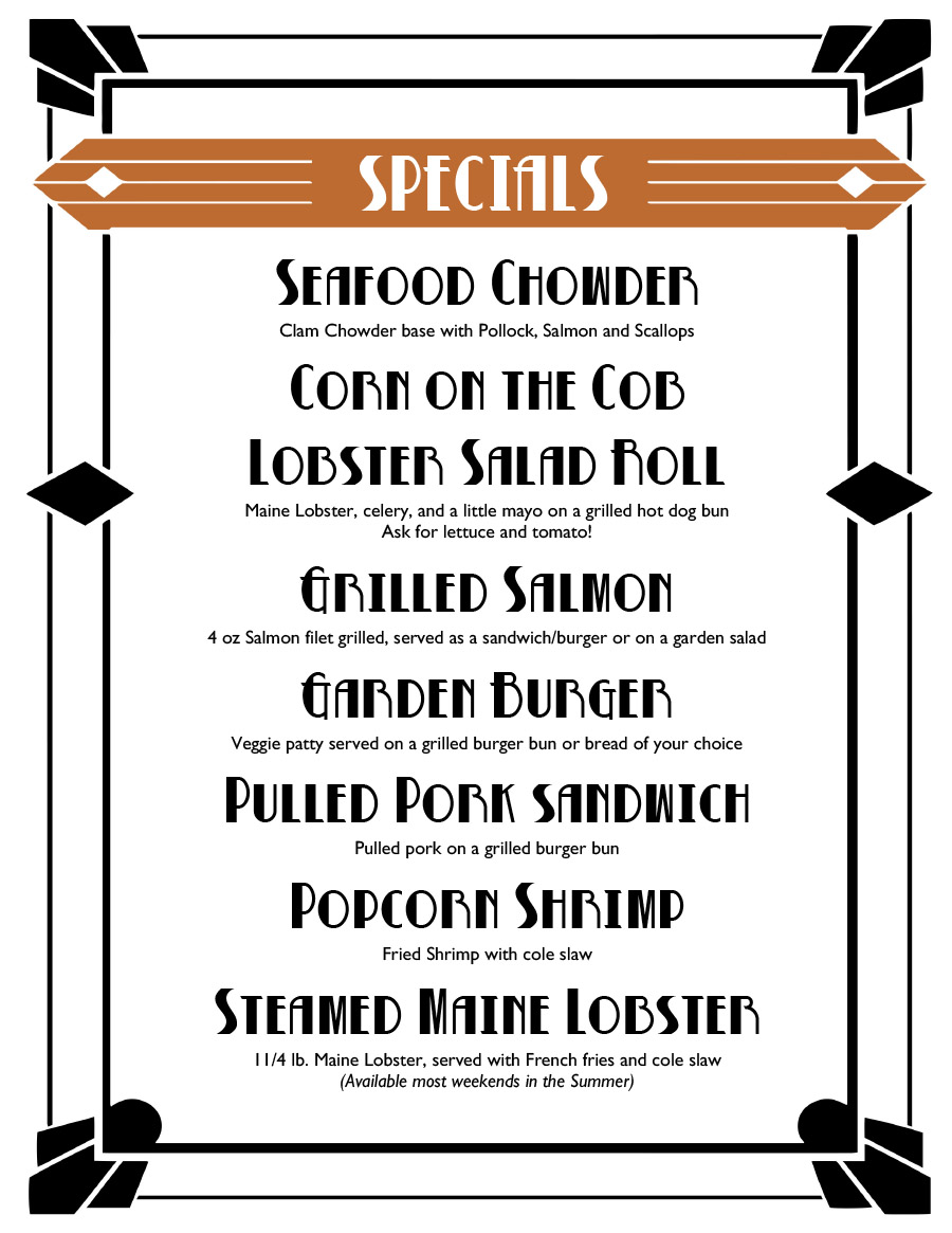White Cottage Snack Bar Specials Menu
